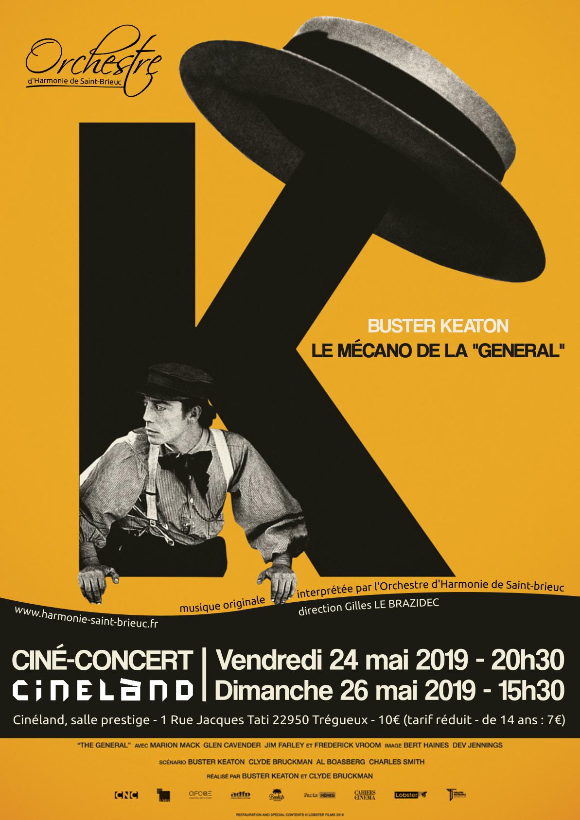 Affiche ciné-concert Le mecano de la General orchestre d'harmonie de Saint-Brieuc 2019